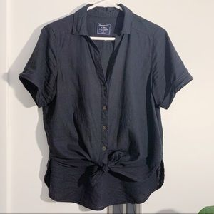 Abercrombie & Fitch tie front linen button-up